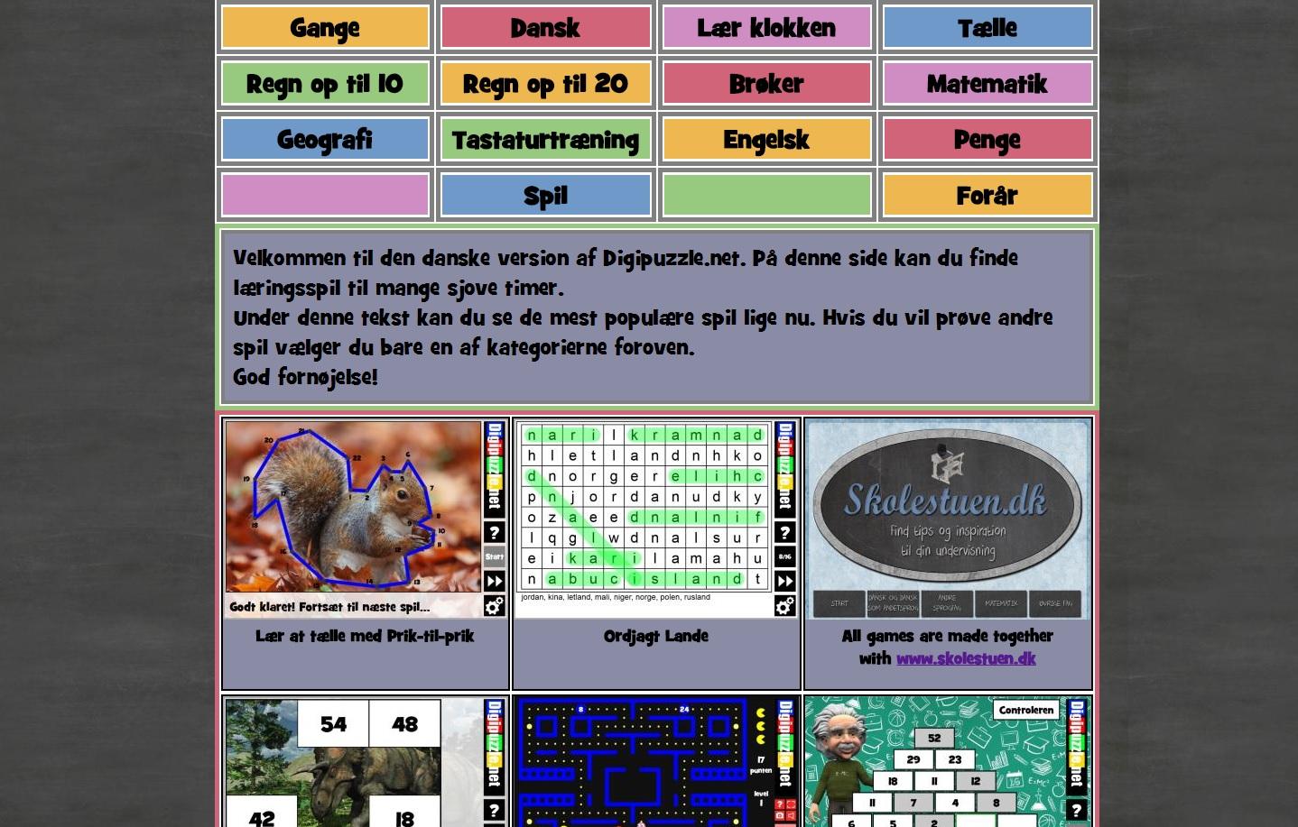 Velkommen til Digipuzzles Skolespil – Ny, dansk side med læringsspil